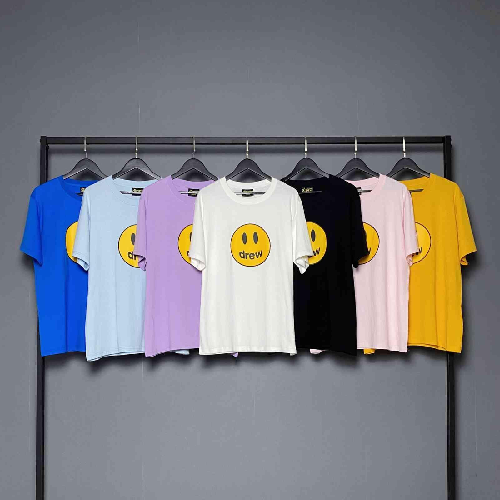 Version correcte de Drew Smile House Justin Bieber Pure Cotton Couple Couple de MEICHAOGAO STREET STREET T-shirt à manches courtes en vrac