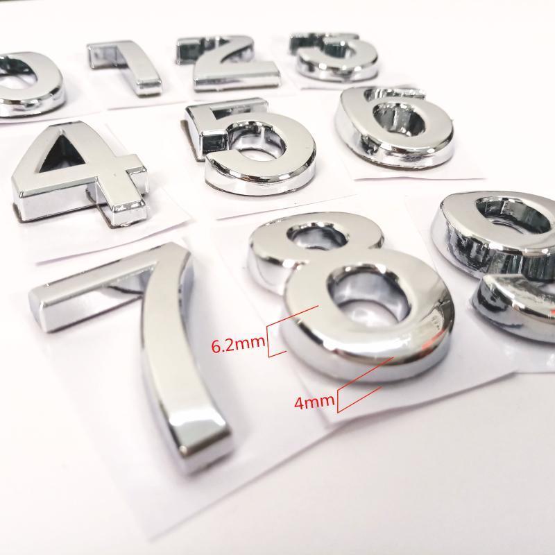 35mm ABS 플라스틱 실버 컬러 하우스 도어 번호 자동 접착 0-9 숫자 사용자 정의 EL 주소 기호 판금 다른 하드웨어