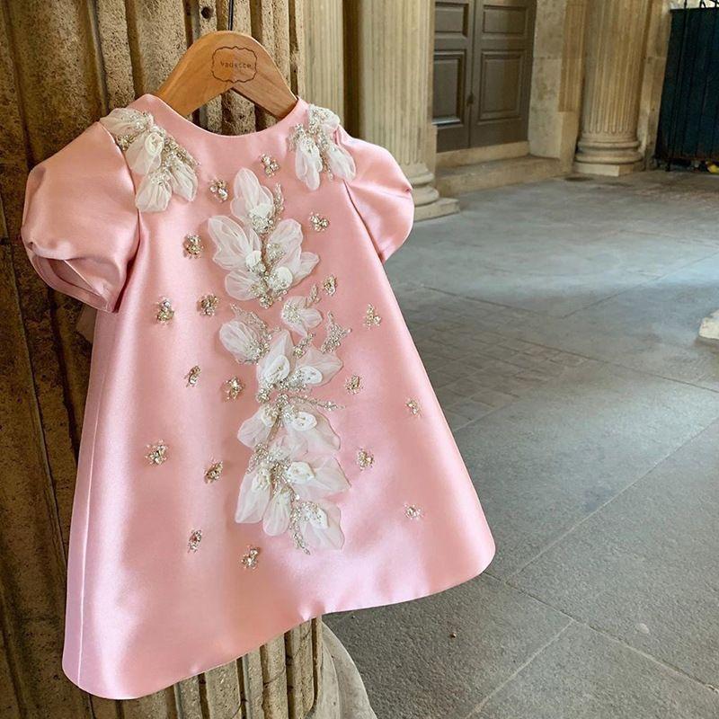 2021 Yeni Bebek Bir Çizgi Yüksek Kaliteli Çiçek Nakış Pembe Geri Yay Tutu Tül Doğum Günü Yıldönümü Kızlar Çocuk Düğün Parti