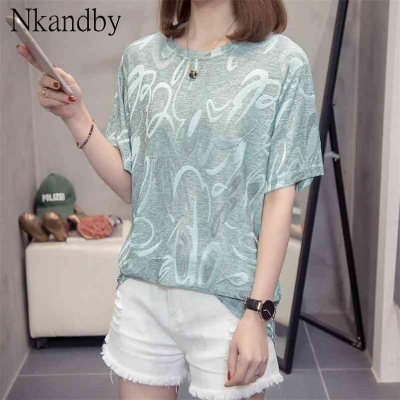 Plus size chique tops para mulheres verão na moda solta de manga curta padrão estética ULZZANG COREAN T-shirt de grandes dimensões 210320