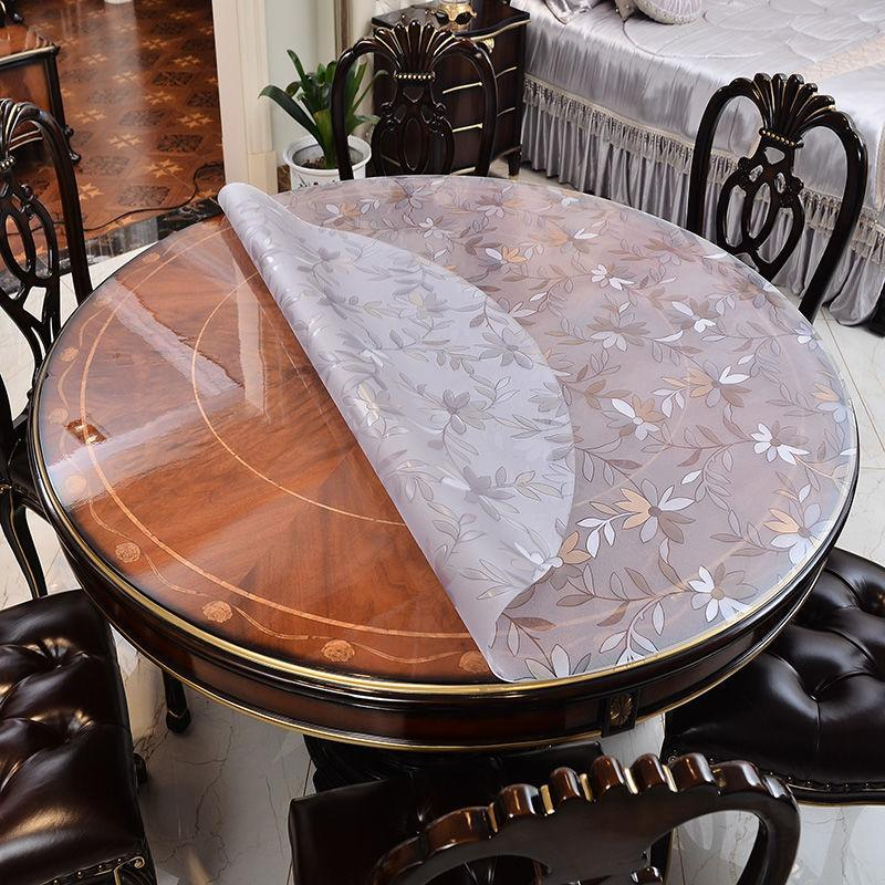 작은 라운드 가소화 된 플라스틱 오일의 투명 PVC 식탁보 노르딕 방지 방수 커피 다이닝 테이블 Mat1mm 천