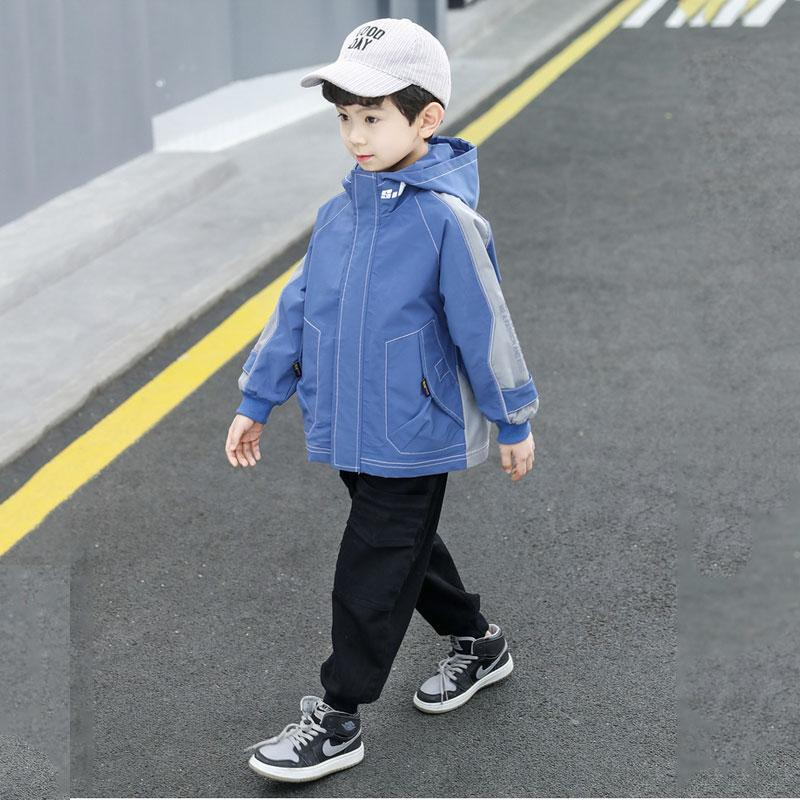 Jackets Kids Boys Spring And Autumn Hooded Jacket Big Virgin Casual 6-12 Years Old