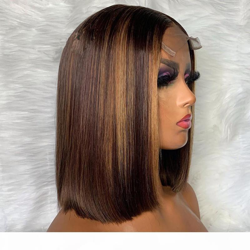 Sheightlight Rubio U parte Peluca de encaje Frente Pelucas para el cabello humano 5 * 5 PU Base de seda Peluca Corte corto Bob Brasil Remy Pelucas de encaje de pelo