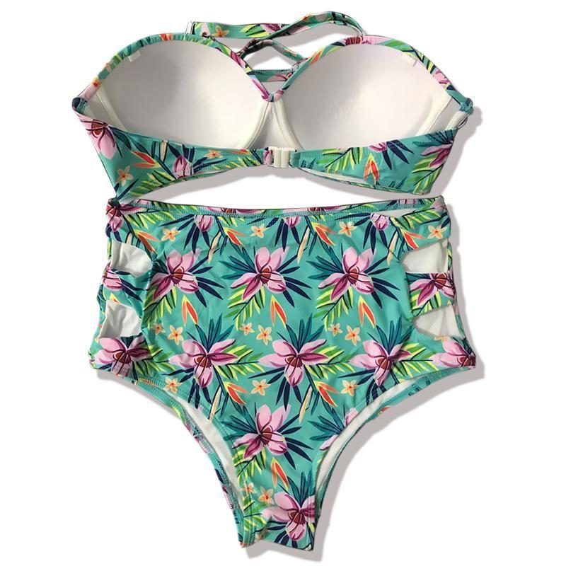 Swimwear Mulheres Cópia Floral Cintura Alta Adultos Atadura de Swimsuit Fio Livre Backless Moda Banheira Praia Calçados Bra Biquini Set Presente