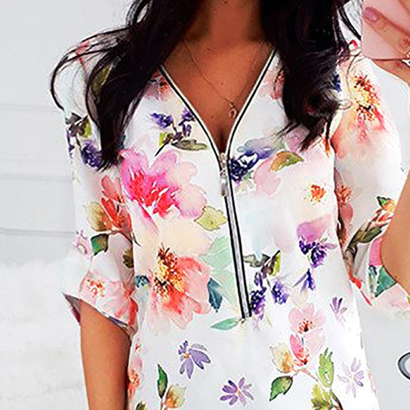 Tops And Sexy V Neck Womens Shirts Floral Print Zipper Long Sleeve Blouse Female Ladies Casual Shirt Plus Size 5xl