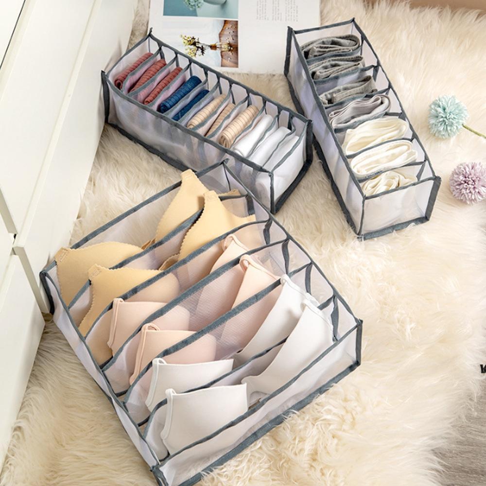 서랍 저장 상자 브래지어 옷장 주최자 팬티 양말 마무리 상자 접이식 24 그리드 분배기 브래지어 양말 Supplies HWB7071