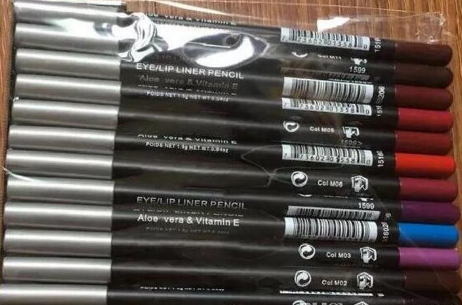 In voorraad Merk make-up oog / lip liner potlood verschillende kleuren (12 stks / partij) Mix 12 Kleur bestelling