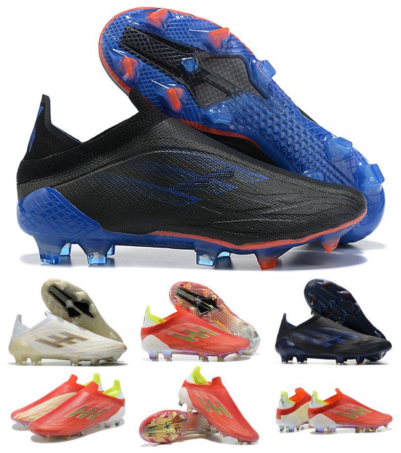 2021 x Speedflow + FG Mens Slip-on Futbol Futbol Ayakkabı Kaçış Işık Redcore BlackSolar Kırmızı Meteorit Speedflow + X Paketi Çizmeler Cleats Boyut US 6.5-11