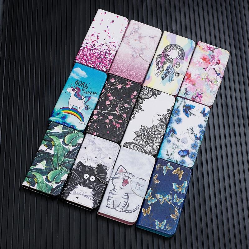 Cajas de billetera de cuero de la mariposa de encaje de flores para Samsung Galaxy S21 Ultra S20 Plus A02S A12 A32 A52 A72 5G Dreamcatcher Love ID Titular de la tarjeta Flip Cover Animal Book Strap