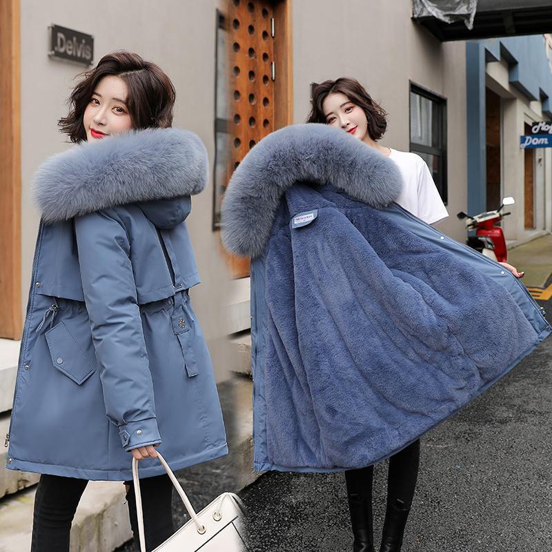 Damen Down Parkas 2021 Winter Frauen Fleece-Mantel Mid-Long Dicke Kapuze Warm Gepolsterte Lässige Weibliche Outwear-Jacke