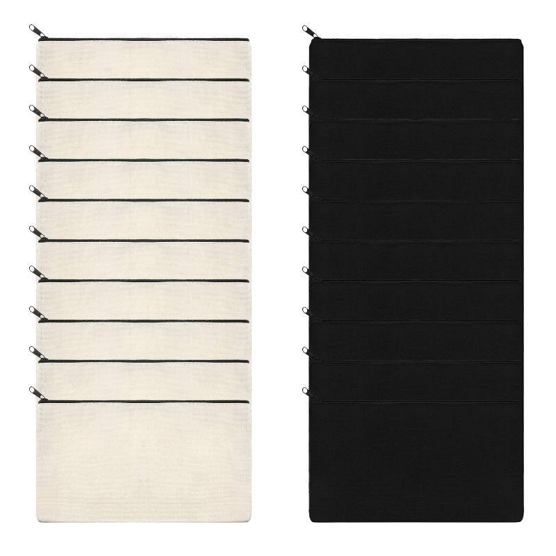 Sacos de lápis 10pcs zipper de lona multifuncional em branco DIY artesanato bolsas cosméticas jóias case bolsa para viagens escolares em casa