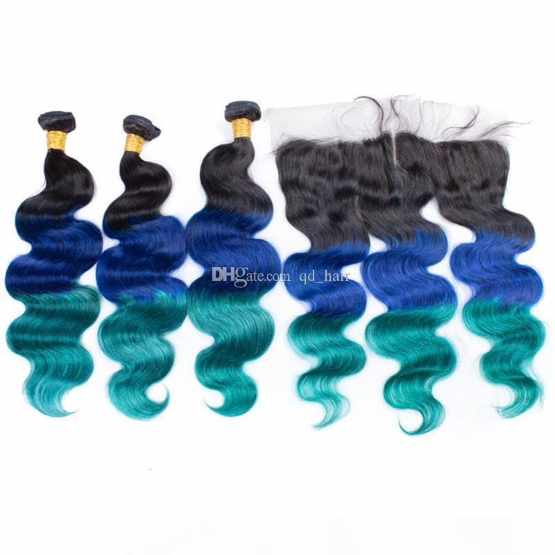 OMBRE 1B extensión de trama de pelo verde azul con oreja a oreja frontal de tres tonos Virgin Human Body Wave Hair 3bundles con encaje frontal