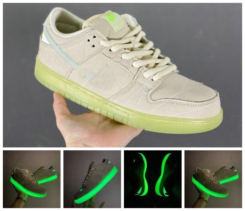 2021 3 M SB Dunks Düşük Mumya Kaykay Rahat Ayakkabılar Erkekler Kadınlar Kremalı-Beyaz Aydınlık Gözyaşları Paten Kurulu Mans Bayan Sneakers Işık Kutusu ile EUR Boyutu 36-46