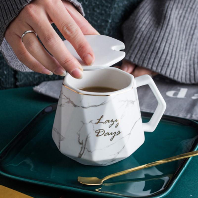410 мл Алмазная мраморная керамическая кофе кружка кофе с ложкой и крышкой творческий золотой край отделка молока геометрические подарки для друзей кружки