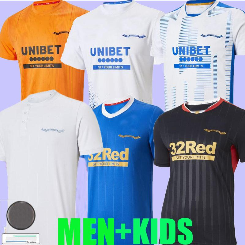 2021 2022 Rangers 150th Anniversary Futebol Jerseys Third Away Glasgow Training Champions 55 Defoe Hagi Barker Tavernier 21 22 Camisas de Futebol Homens + Kit Kits Home