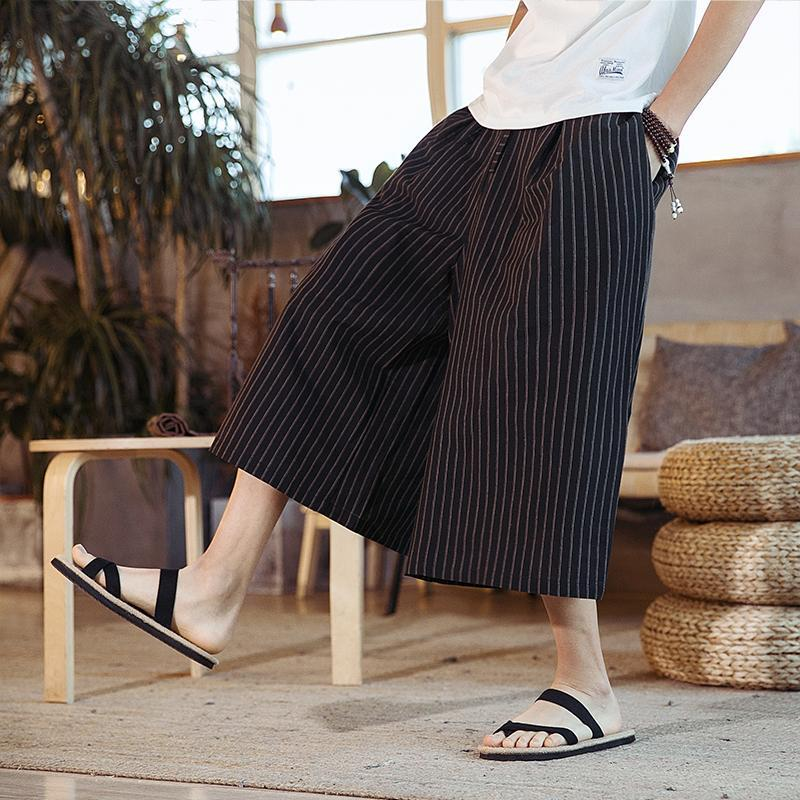 Calças masculinas verão cortiça moda all-partide larga perna solta listrada vintage japonês streetwear roupas homens xxxl