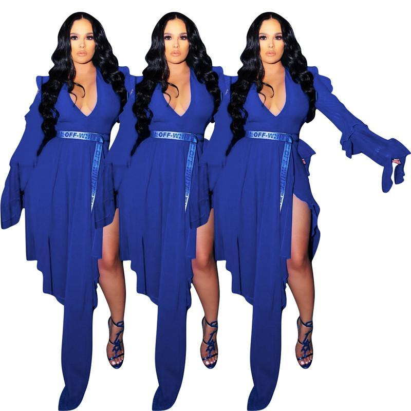 Casual Dresses Women V Neck Sexy Club Long Dress Side Split Blue Color Fall Slim Fashion Streetwear Summer 2021