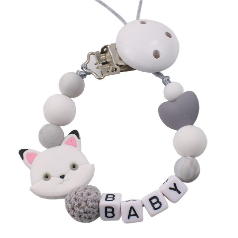 Pacifier Holders&Clips# Custom Baby Name Personalized Silicone Beads Clip Chain Chew Teether Toys Dummy Nipple Holder
