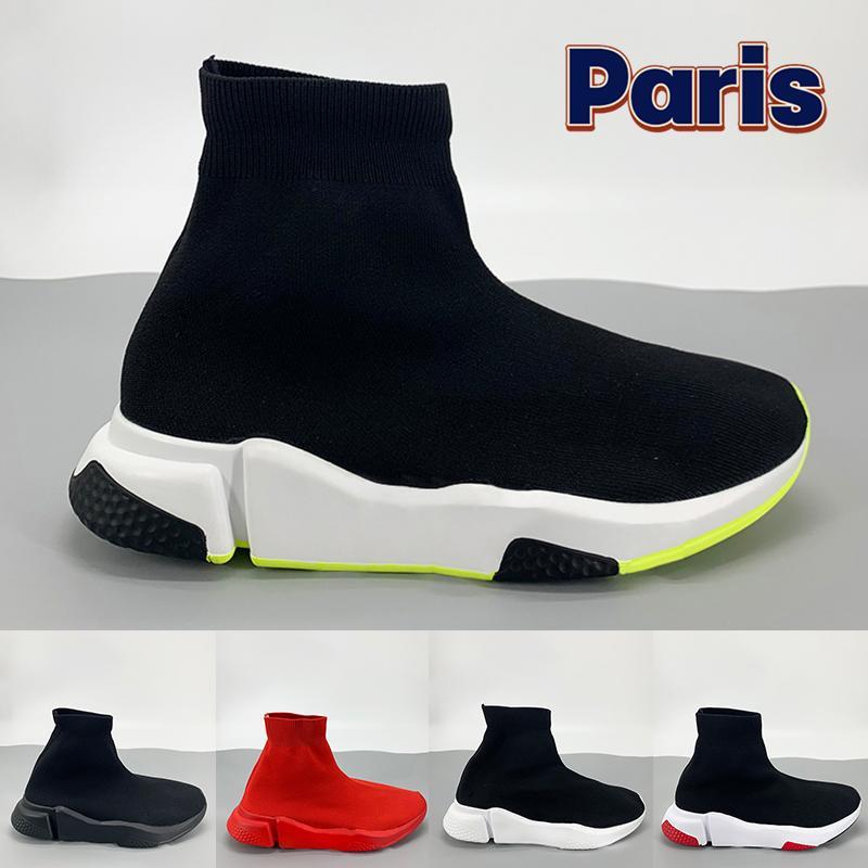 الأزياء عالية باريس عارضة جورب الأحذية الثلاثي الأسود الأبيض الأخضر الأحمر أعلى جودة الفاخرة النساء رجل مصمم أحذية رياضية المدربين الولايات المتحدة 6-12