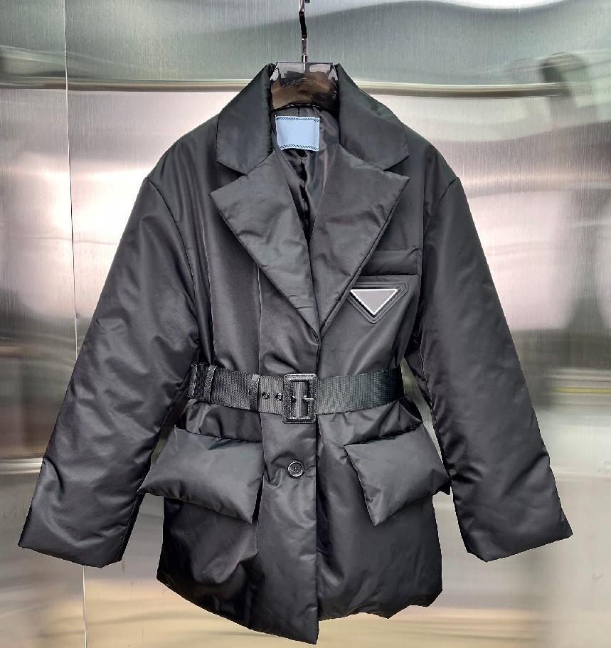 21FW Womens Jacket Down Coats Winter Long Coat Fashion Style With Belt Corset Lady Slim designer Jackets Pocket Outsize Warm parkas Size S-L