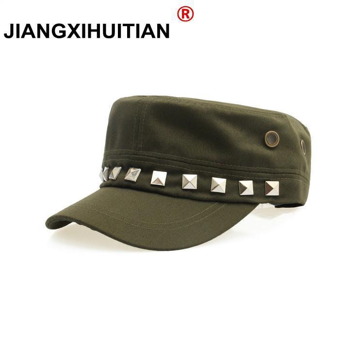 Jiangxihuitic 2021 primavera estate autunno uomini donne unisex piatto top cap cappio militari cappelli classici vintage cotone visiera cappello a corna larga