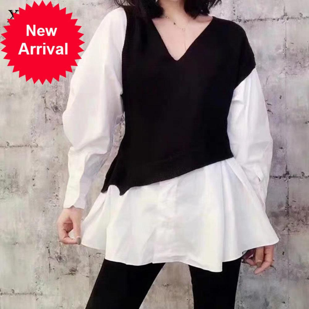 Patchwork camisa a rayas 2020 invierno casual moda nuevo estilo temperament todo coincidencia en v cuello mujer ropa zxr1093