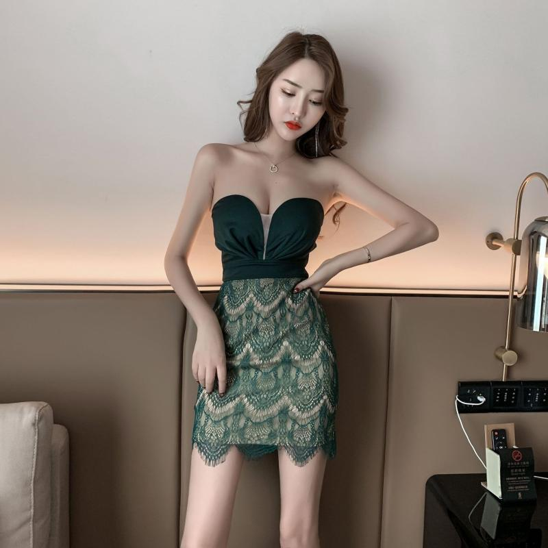 Femme Night Club Robe Sexy avec Tube Top Office Dame Gaine Solide Sans Manches Sans Manches Longueur Durée Longueur Robe Casual Robe