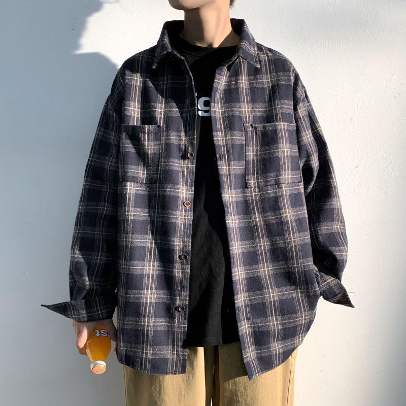 봄 빛 흰 벽 큰 남자 옷깃이 편안한 격자 무늬 셔츠 KPOP 휴일 preppy 스타일 스마트 캐주얼 셔츠