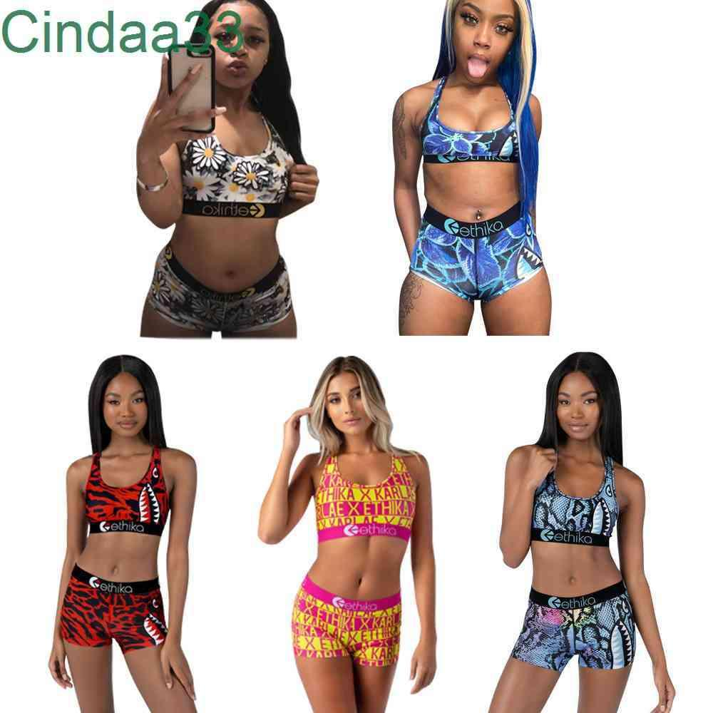 2021 New Summer Swimsuit Suit Women 2 Piece Ethika Set Designer Vest Pant Bikini Slim Breathable Fitness Swimwear