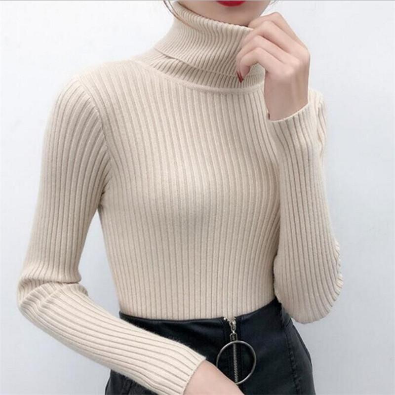 Frauenpullover 2021 Frauen Koran Solide Pullover Full Sleeve Rollkragener Anzug Herbst- und Winterbüro Dame