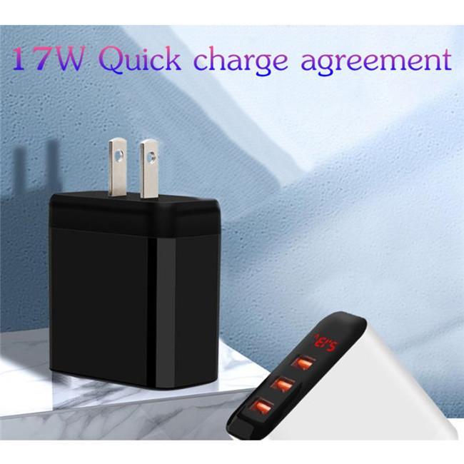 디지털 디스플레이 빠른 충전기 여행 범용 17W 빠른 벽 어댑터 최고 품질 5V 3.4A USB 3 포트 3USB US 플러그