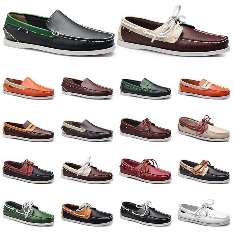 111 여자 운동화 항해 신발 망 캐주얼 가죽 신발 검은 흰색 빨간색 녹색 오렌지 갈색 야외 트레이너 크기 38-45