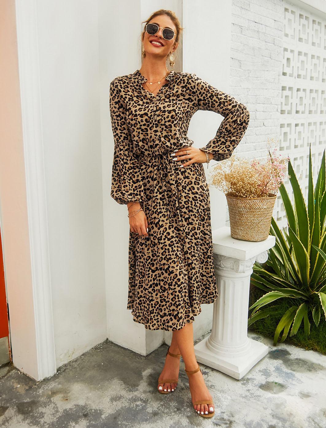 여성 표범 인쇄 드레스 비치 드레스 긴 소매 스탠드 칼라 캐주얼 느슨한 프릴 Maxi Sundress A-Lined 높은 허리 휴가 파티 옷 레이스 여성