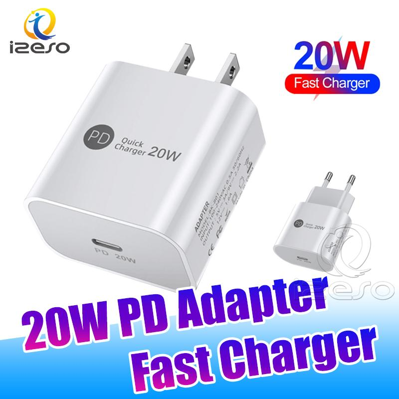 USB-C PD Fast Charger 20W Type C Wall Charge Adapter US EU Plugs Quick Charging Mobile Phone Chargers for iPhone 12 Pro Max izeso