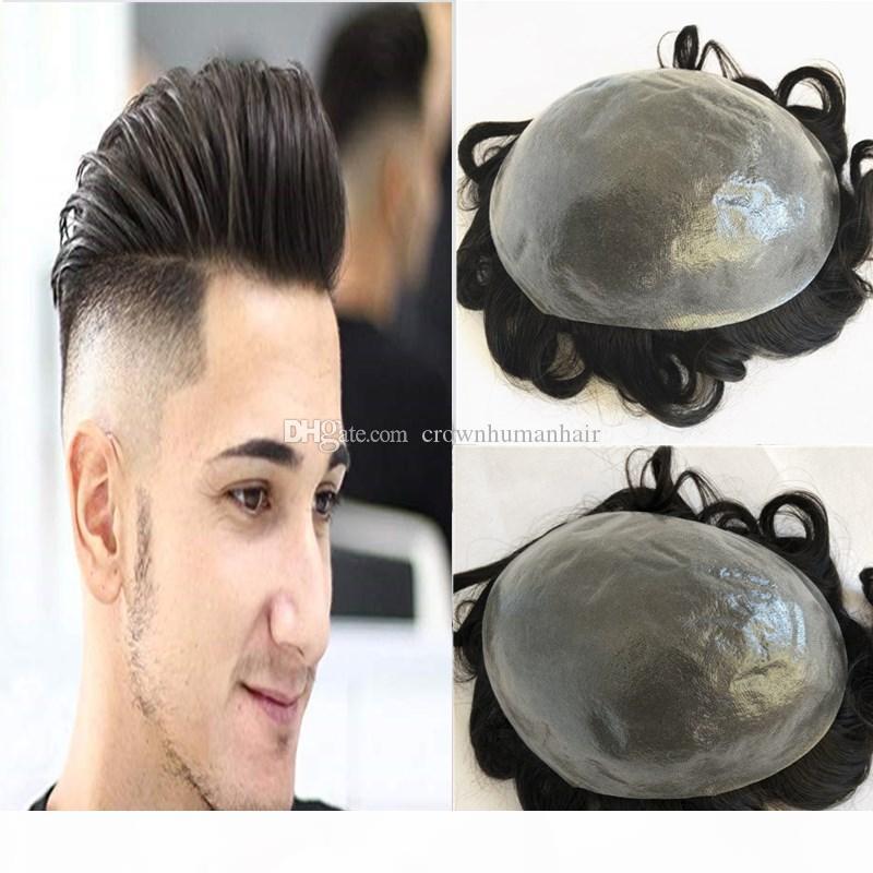 Tam PU Erkekler Peruk İnce Cilt PU TOUKE Erkekler Için Değiştirme Sistemi Ince Cilt V Döngü Hairpieces Dalga İnsan Saç Erkekler Peruk