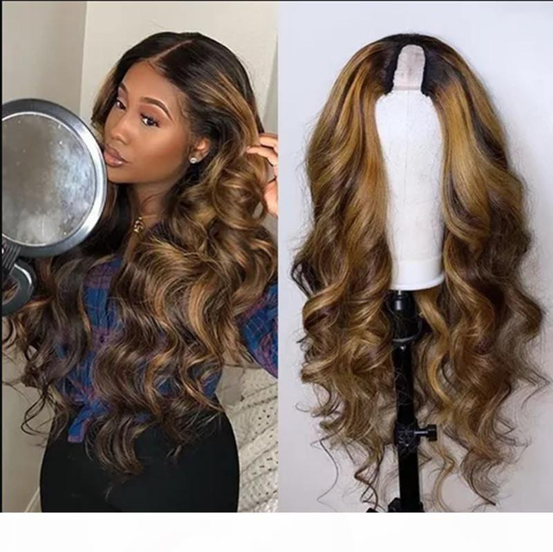 Brilho completo u shape wig clipe de cabelo humano em perucas 16 polegadas u parte perucas remy cabelo humano ombre destaque cor ash loira meia perucas para mulheres