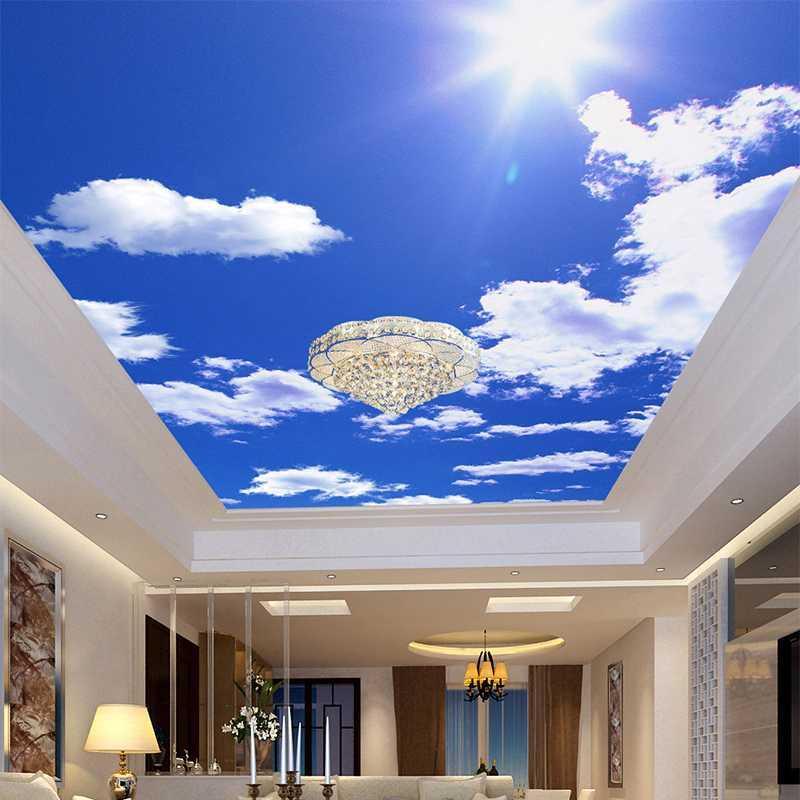 Droptship Blue Sky Blanc Blanc Blanc Photo Fond d'écran Custom Plafond Mural Hotel Salle de salle à manger Fresques Accueil Décor Papel de paréde 3D DSF0014