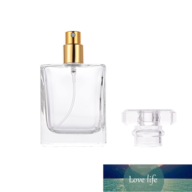 50ml Glas Nachfüllbarer Parfüm Flasche quadratische Tragbare Zerstäuber Leere Flasche mit Sprühapplikator für Reisepaket High-End-Kosmetik V4 Fabrikpreis-Experten-Design