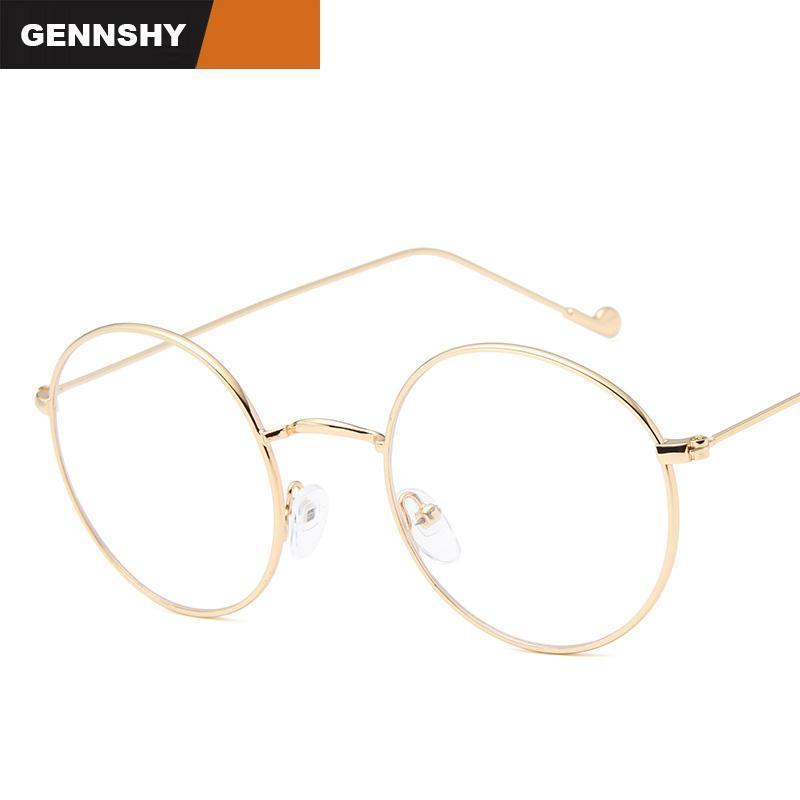 Est retro optischer rahmen frauen männer koreanische stil runde metall dame mann dünn licht unisex student lesung brille mode sunglasses frames