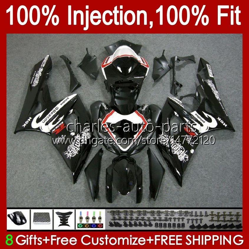 Kroppssprutmattor för SUZUKI GSXR 1000cc 1000 CC K5 GSXR1000 05 06 Bodywork 11HC.9 GSXR-1000 2005 2006 Cowling GSX-R1000 GSX R1000 05-06 OEM Fairing Glossy Black