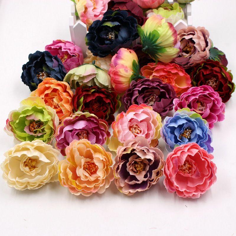 100 unids 5 cm barato Seda artificial Peony Flower Cabezas para la decoración del hogar de boda DIY Corsage Guirnalda Craft Fall Vivid Flowles Flowers 517 V2