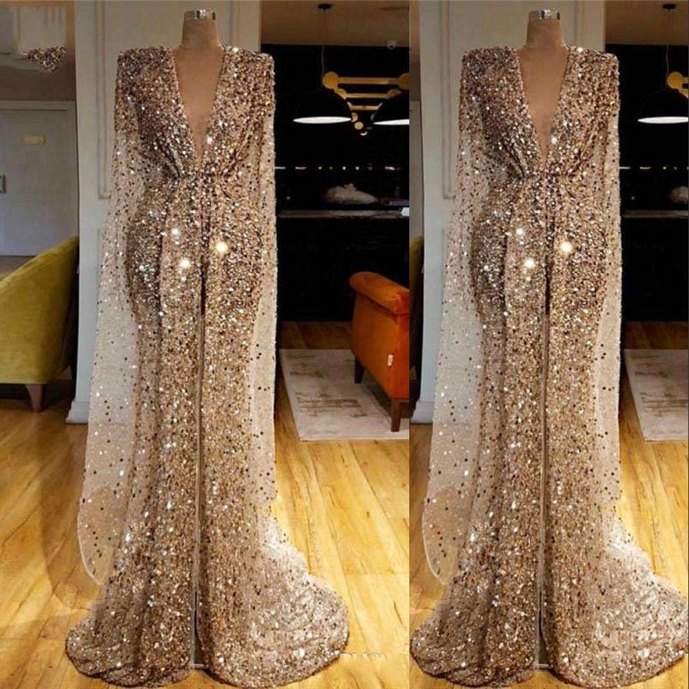 2021 Sexy Gold Sequined Glitter Prom Dresses Arab Dubai Sequins Crystal Beads Deep V Neck Mermaid Evening Dress Luxury Long Sleeves Front Split Pageant Gowns Custom