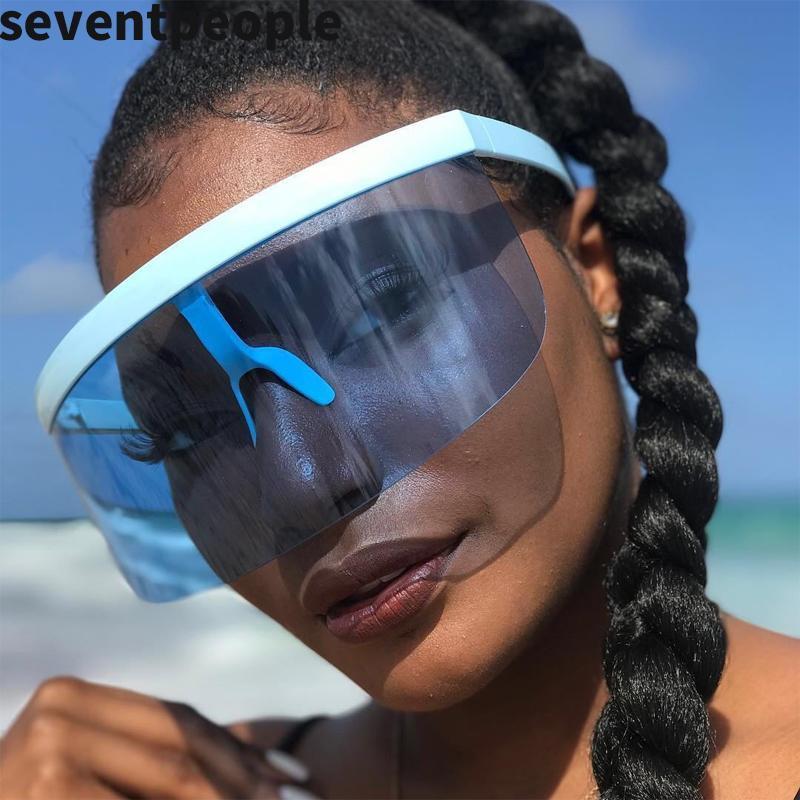 Anti-Peeping Oversized Sunglasses Women Designer Shield Visor Sunglass Men Rimless Windproof Sun Glasses
