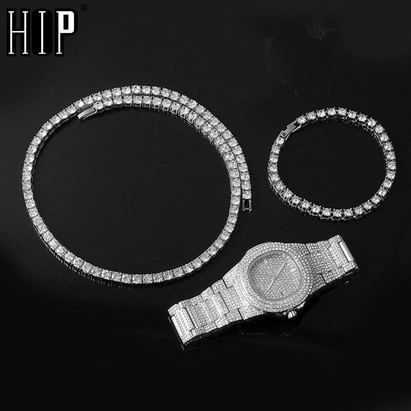 Hip Hop Mens Iced Out Necklaces + Watch+Bracelet Rhinestone Choker Bling Crystal Tennis Chain Necklace For Men Jewelry