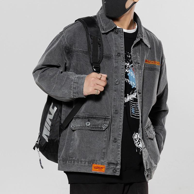 Jaquetas masculinas moda 2021 na moda marca bonito denim jaqueta primavera rua solta lapela casual ferramentas uniformes de beisebol