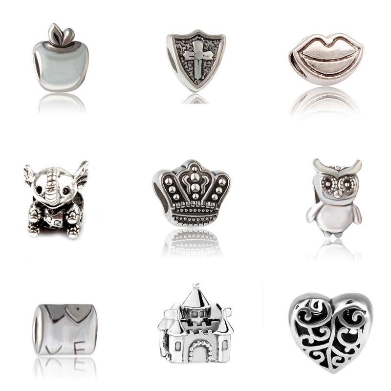 PANZA001 Alloy Charm Bead Fashion Women Jewelry European Style Fit For Pandora Bracelet Necklace Bangle Little Components