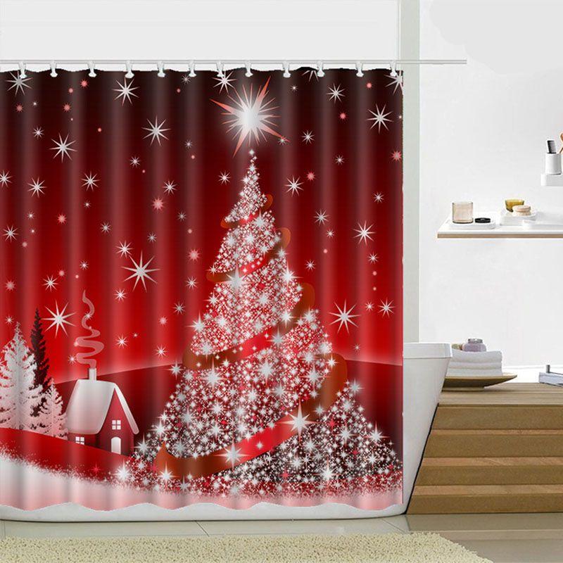 Rideau de douche de Noël 180 * 180cm Santa Claus Bonhomme de neige étanche Salle de bain Rideau de douche Décoration avec crochets 21 Design Ood4656