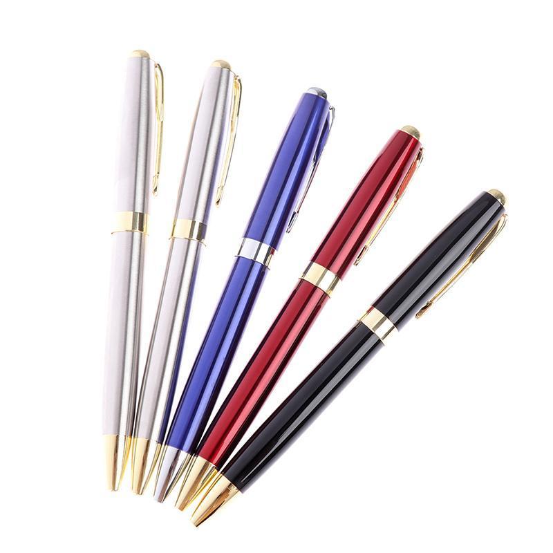 Tükenmez Kalemler Lüks Yüksek Kalite Siyah Paslanmaz Çelik Iş Ofis Okul Malzemeleri Kalem Altın Klip Kırtasiye Hediye