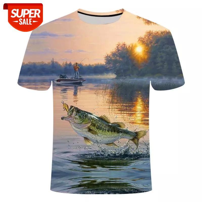 Nueva pesca de camiseta estilo casual Pescado digital 3D T-shirt T-shirt hombres mujeres camiseta verano manga corta o-cuello topstees s-6xl # vq4s