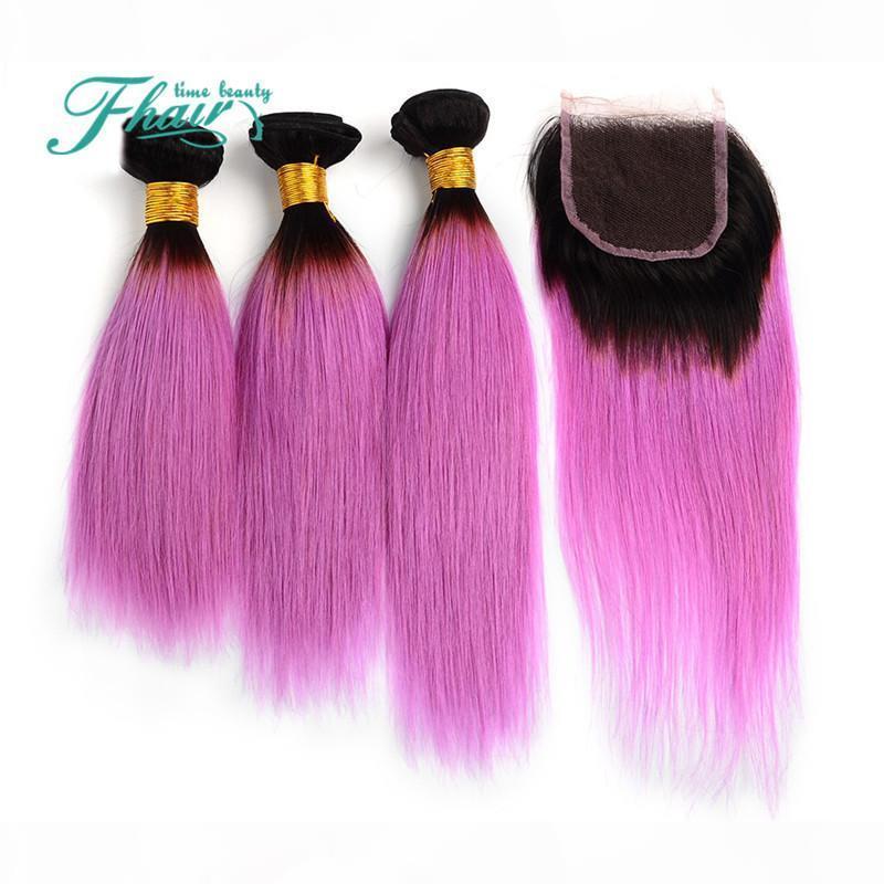 Ombre 1b rosa 7a brasilianische haare mit schließung gerade menschliches haar lila zwei ton 4 stücke lot omber haarverlängerungen